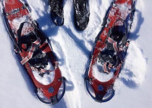 ciaspole rosse con neve